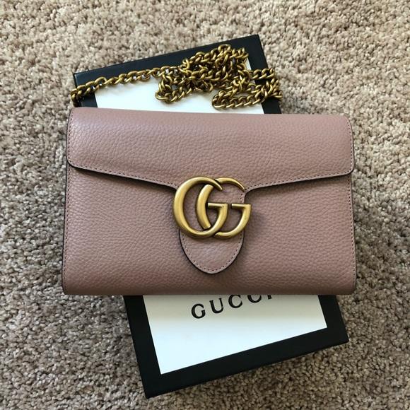 482e79f79534 Gucci Handbags - Gucci Marmont leather mini chain cross body bag 💕